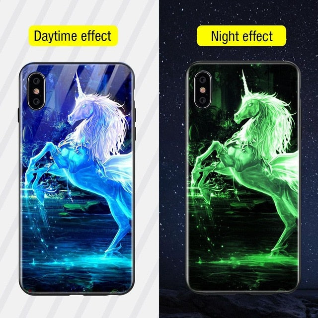 Luminous Iphone Glass Case For Iphone X Xs Max 7 8 Plus - Style1 / For Iphone Xs