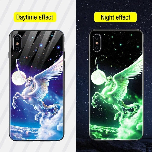 Luminous Iphone Glass Case For Iphone X Xs Max 7 8 Plus - Style2 / For Iphone Xs