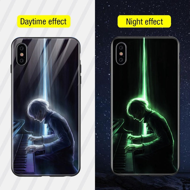 Luminous Iphone Glass Case For Iphone X Xs Max 7 8 Plus - Style3 / For Iphone Xs