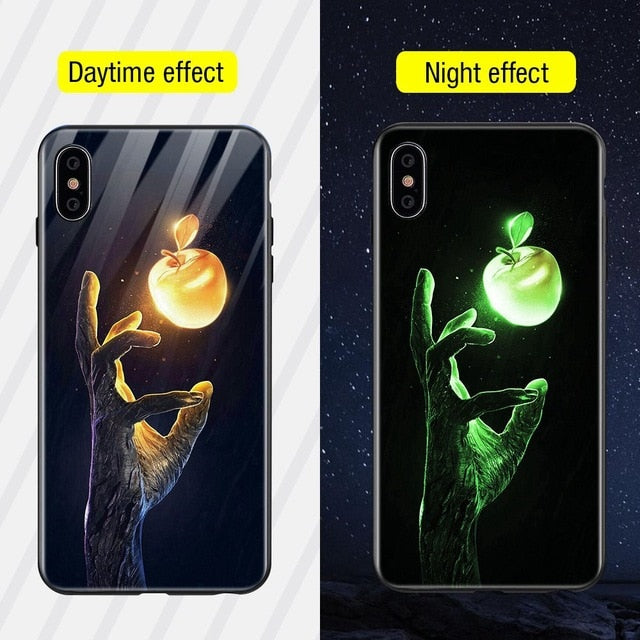 Luminous Iphone Glass Case For Iphone X Xs Max 7 8 Plus - Style4 / For Iphone Xs
