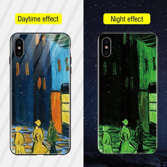 Luminous Iphone Glass Case For Iphone X Xs Max 7 8 Plus - Style5 / For Iphone Xs