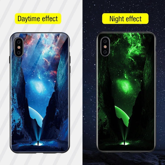 Luminous Iphone Glass Case For Iphone X Xs Max 7 8 Plus - Style6 / For Iphone Xs