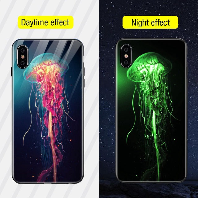 Luminous Iphone Glass Case For Iphone X Xs Max 7 8 Plus - Style7 / For Iphone Xs