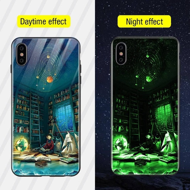 Luminous Iphone Glass Case For Iphone X Xs Max 7 8 Plus - Style8 / For Iphone Xs