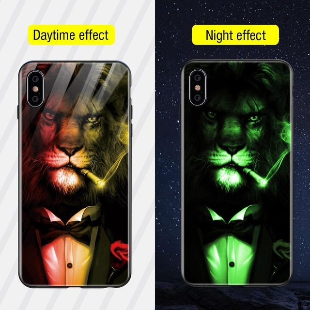 Luminous Iphone Glass Case For Iphone X Xs Max 7 8 Plus - Style9 / For Iphone Xs