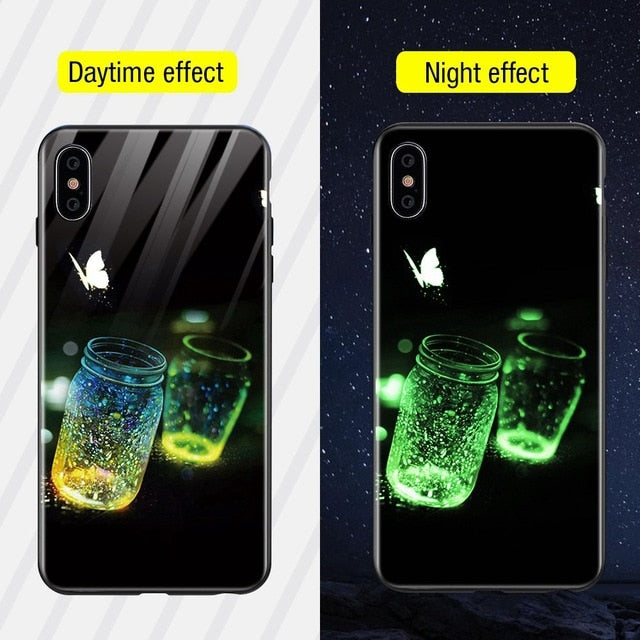 Luminous Iphone Glass Case For Iphone X Xs Max 7 8 Plus - Style10 / For Iphone Xs