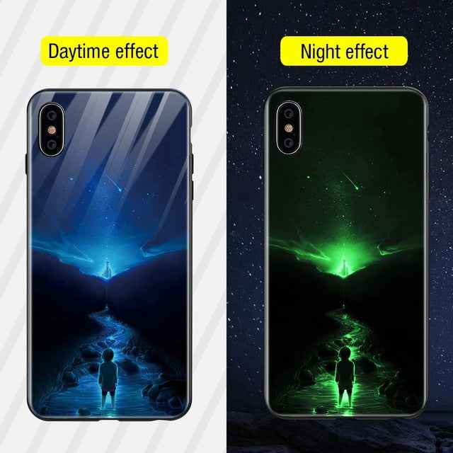 Luminous Iphone Glass Case For Iphone X Xs Max 7 8 Plus - Style13 / For Iphone Xs