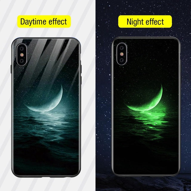Luminous Iphone Glass Case For Iphone X Xs Max 7 8 Plus - Style14 / For Iphone Xs