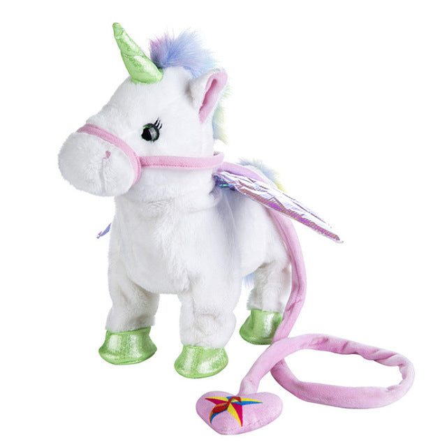 Singing And Walking Unicorn Plush Toy - White