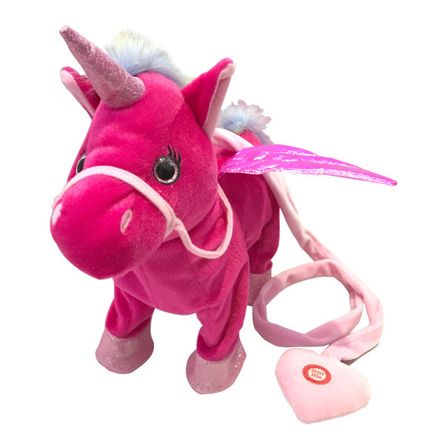 Singing And Walking Unicorn Plush Toy - Red