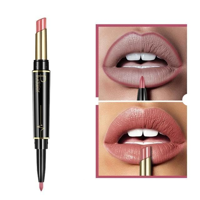 Pudaier Double Ended Waterproof Long Lasting Matte Lipstick Lip Liner - #03 - Lipstick
