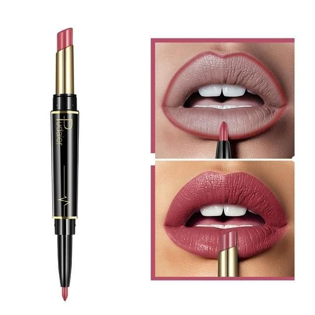 Pudaier Double Ended Waterproof Long Lasting Matte Lipstick Lip Liner - #04 - Lipstick