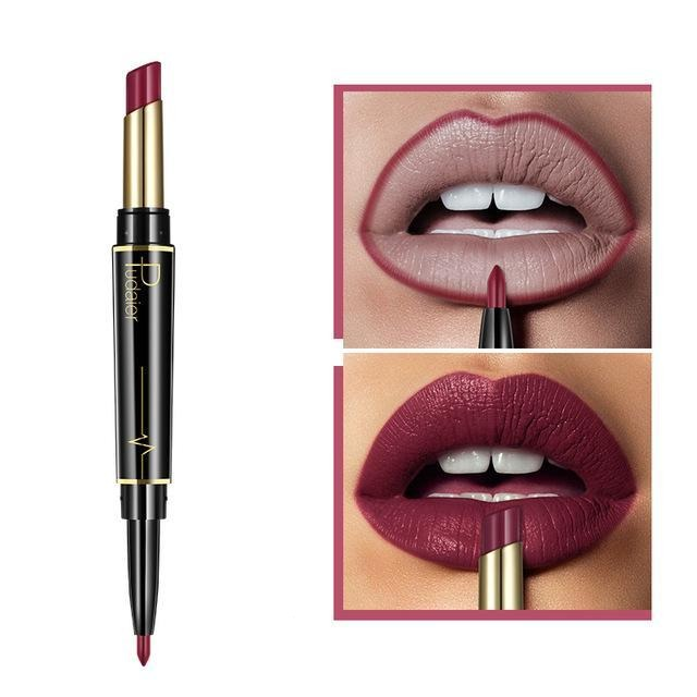 Pudaier Double Ended Waterproof Long Lasting Matte Lipstick Lip Liner - #08 - Lipstick