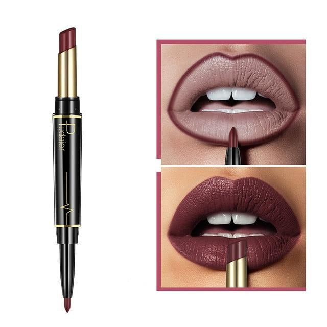 Pudaier Double Ended Waterproof Long Lasting Matte Lipstick Lip Liner - #10 - Lipstick