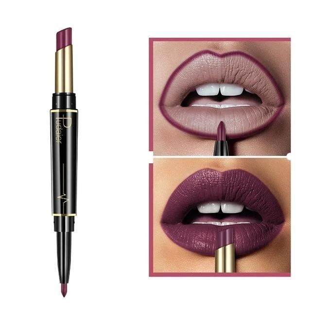 Pudaier Double Ended Waterproof Long Lasting Matte Lipstick Lip Liner - #11 - Lipstick
