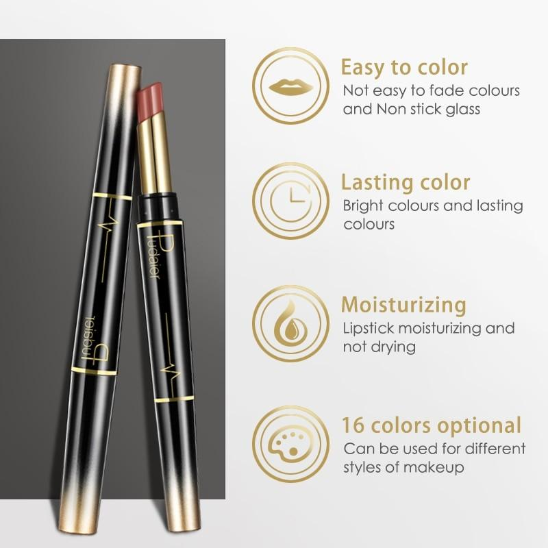 Pudaier Double Ended Waterproof Long Lasting Matte Lipstick Lip Liner - Lipstick
