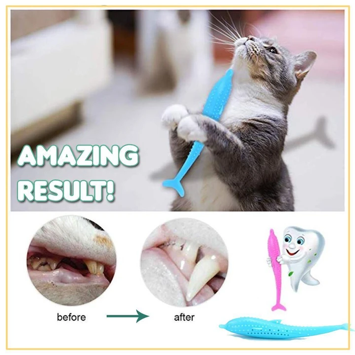 Purfect Teeth - Catnip Filled Silicone Fish Toothbrush Chew Cats Toy