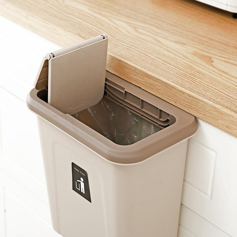 Push Cover Lid Hanging Trash Garbage Bin - Brown - Waste Bins