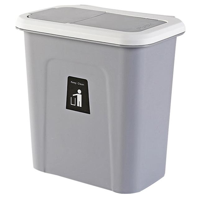 Push Cover Lid Hanging Trash Garbage Bin - Dark Gray - Waste Bins