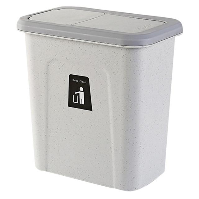 Push Cover Lid Hanging Trash Garbage Bin - Light Gray - Waste Bins