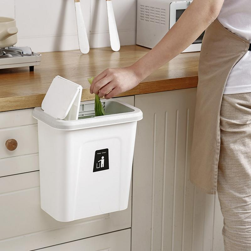 Push Cover Lid Hanging Trash Garbage Bin - White - Waste Bins