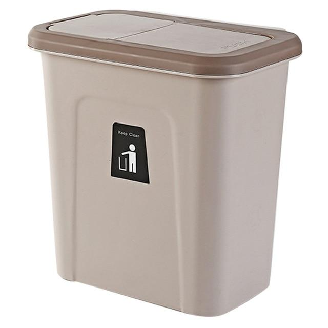 Push Cover Lid Hanging Trash Garbage Bin - Waste Bins