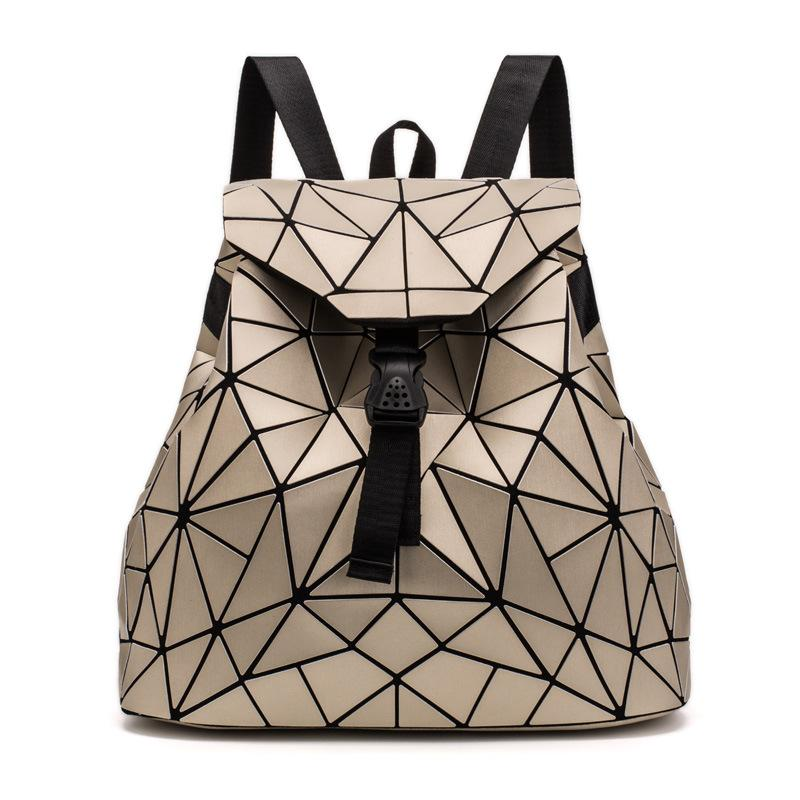 Irregular Laser Geometric Designer Travel Backpack - Light Gold - Backpacks