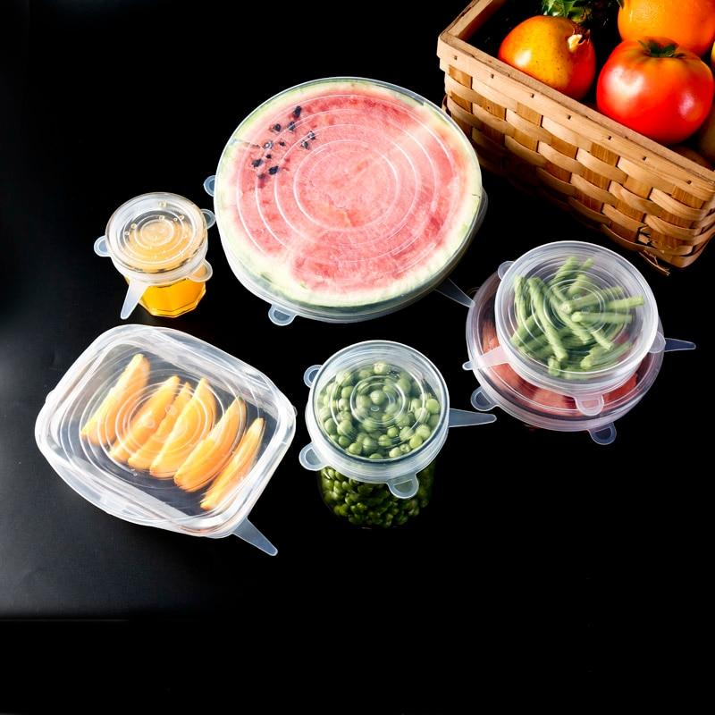 Reusable Silicone Caps Stretch Lids Reusable Airtight Food Seal Covers