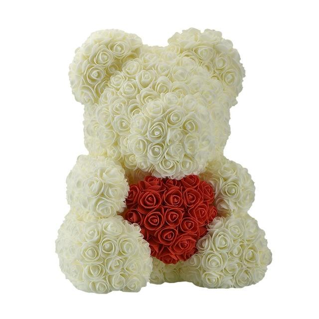 Rose Bear Love Heart Artificial Rose Wedding Anniversary Valentines Gift - Cream (Red Heart)