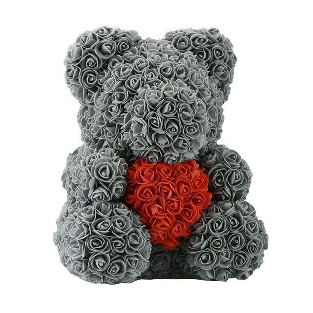 Rose Bear Love Heart Artificial Rose Wedding Anniversary Valentines Gift - Grey (Red Heart)