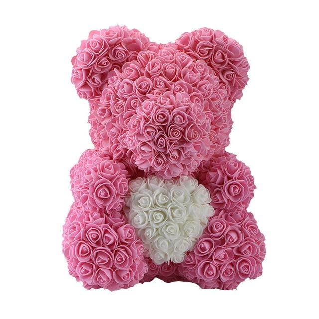 Rose Bear Love Heart Artificial Rose Wedding Anniversary Valentines Gift - Pink (White Heart)