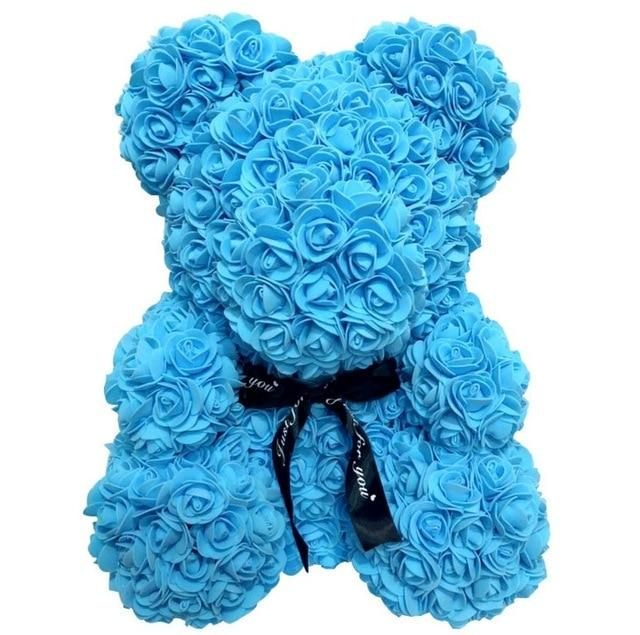 Rose Bear Teddy Artificial Rose Wedding Anniversary Valentines Gift - Blue