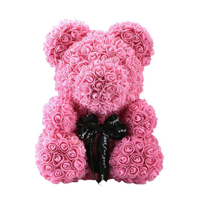 Rose Bear Teddy Artificial Rose Wedding Anniversary Valentines Gift - Pink