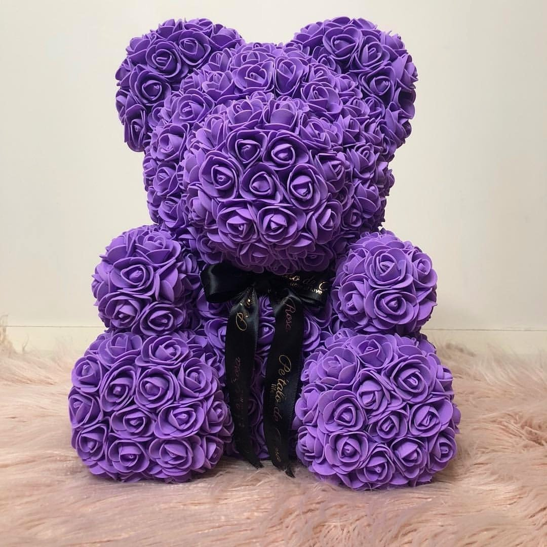 Rose Bear Teddy Artificial Rose Wedding Anniversary Valentines Gift - Purple