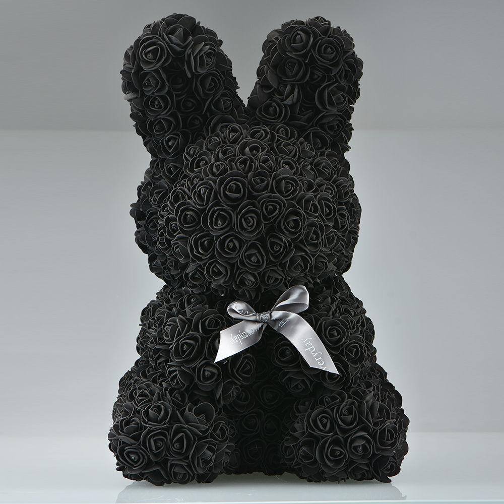 Rose Bunny Artificial Rose Rabbit Wedding Anniversary Valentines Easter Gift - Black