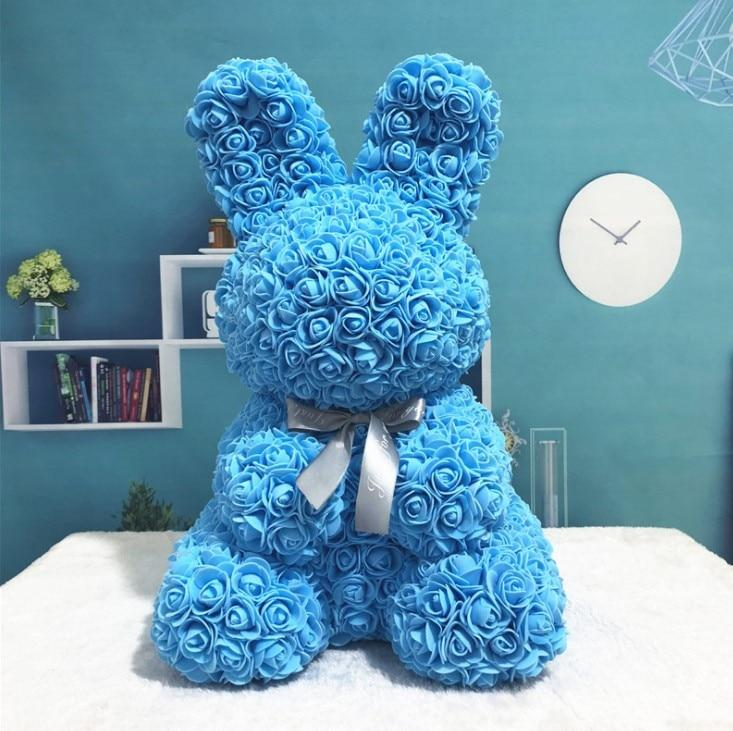 Rose Bunny Artificial Rose Rabbit Wedding Anniversary Valentines Easter Gift - Blue