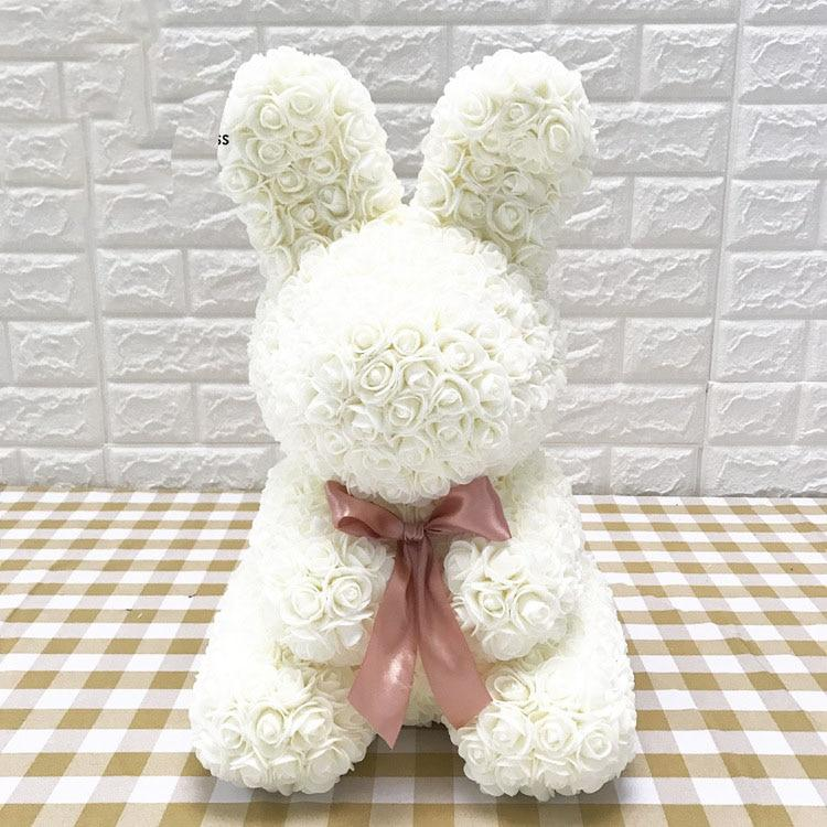 Rose Bunny Artificial Rose Rabbit Wedding Anniversary Valentines Easter Gift - Cream