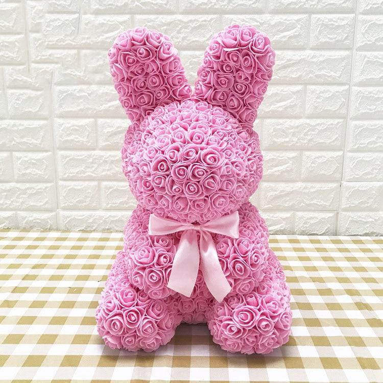 Rose Bunny Artificial Rose Rabbit Wedding Anniversary Valentines Easter Gift - Pink
