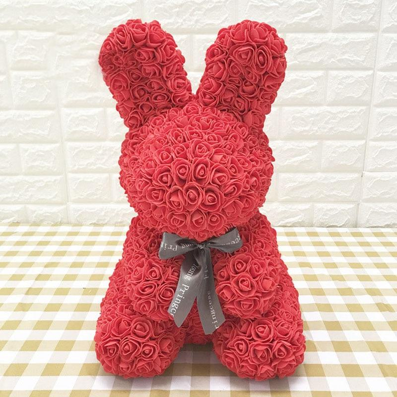 Rose Bunny Artificial Rose Rabbit Wedding Anniversary Valentines Easter Gift - Red