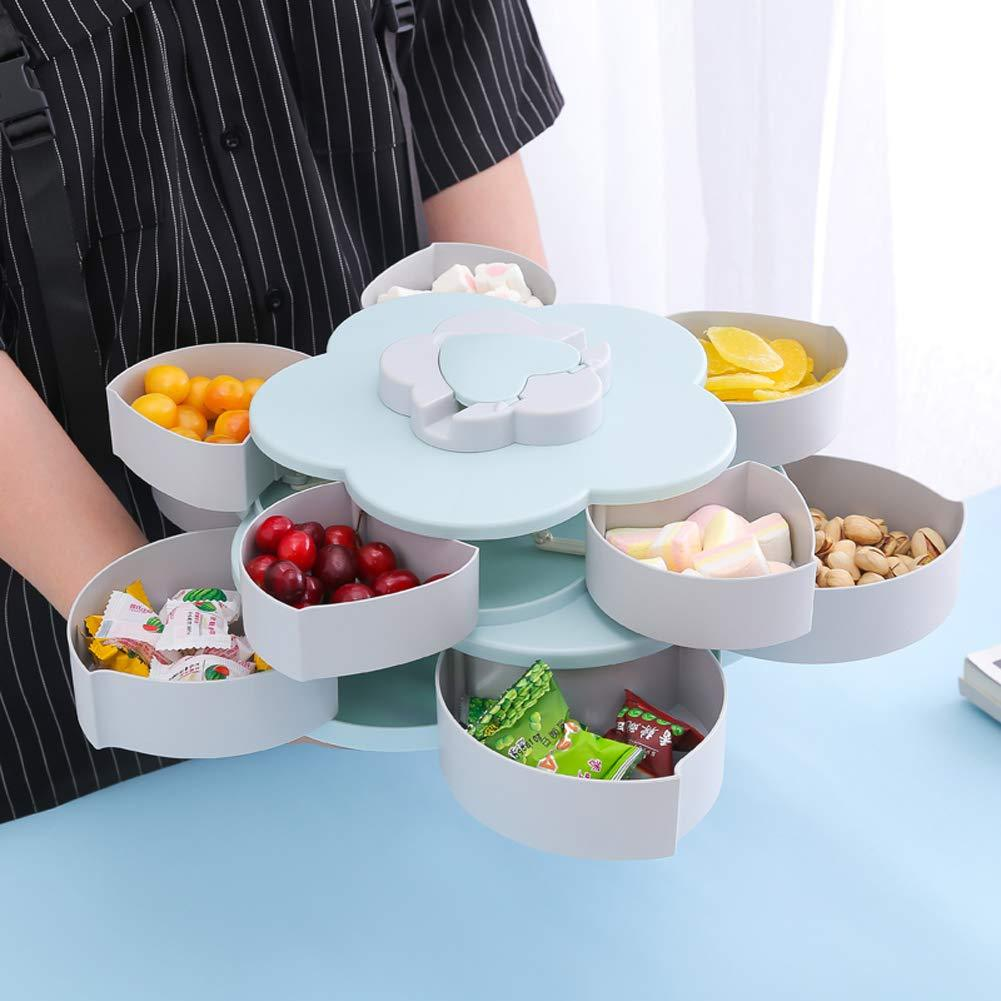 Rotating Food Storage Organizer Box - Flower Bloom Design Candy Nut Snack Serving Tray - Blue Double Layer - Storage Boxes & Bins