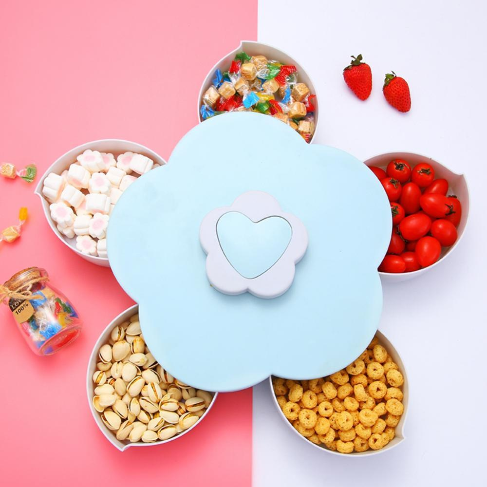 Rotating Food Storage Organizer Box - Flower Bloom Design Candy Nut Snack Serving Tray - Blue - Storage Boxes & Bins