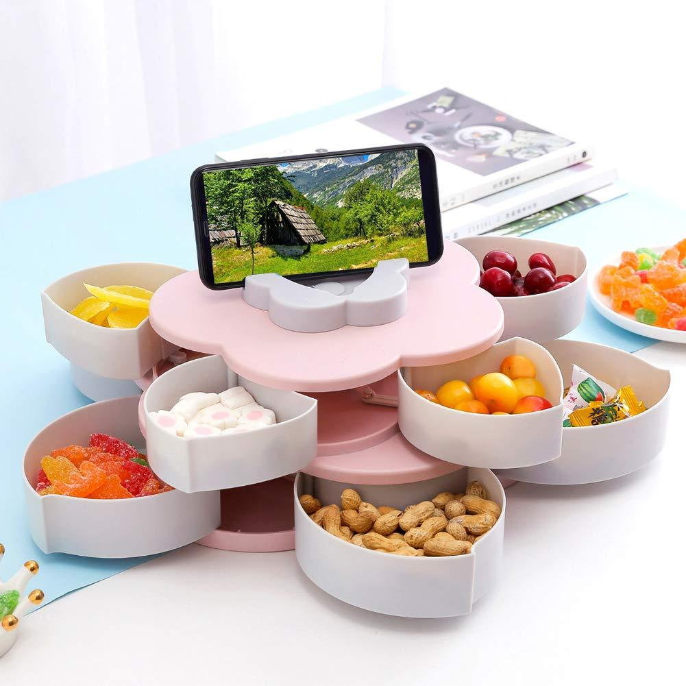 Rotating Food Storage Organizer Box - Flower Bloom Design Candy Nut Snack Serving Tray - Pink Double Layer - Storage Boxes & Bins