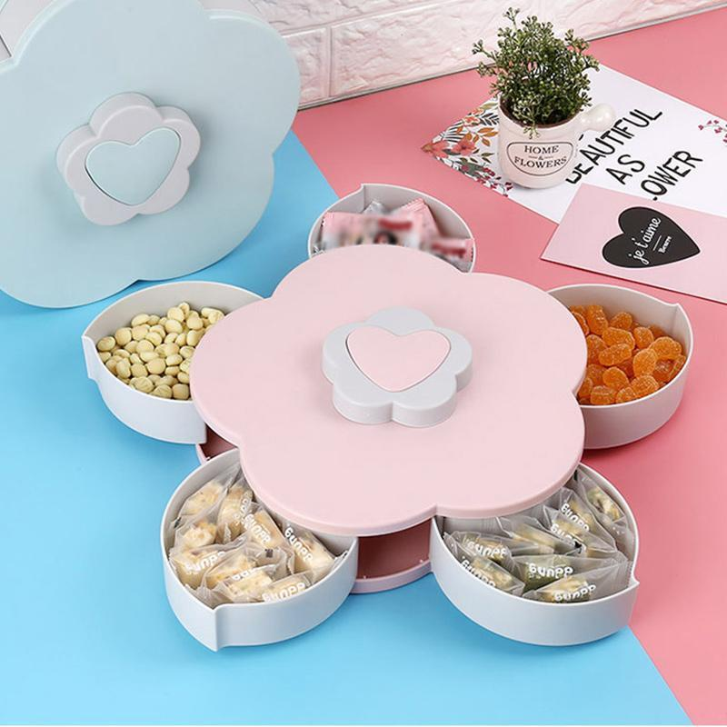 Rotating Food Storage Organizer Box - Flower Bloom Design Candy Nut Snack Serving Tray - Pink - Storage Boxes & Bins