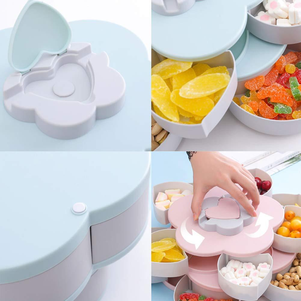 Rotating Food Storage Organizer Box - Flower Bloom Design Candy Nut Snack Serving Tray - Storage Boxes & Bins