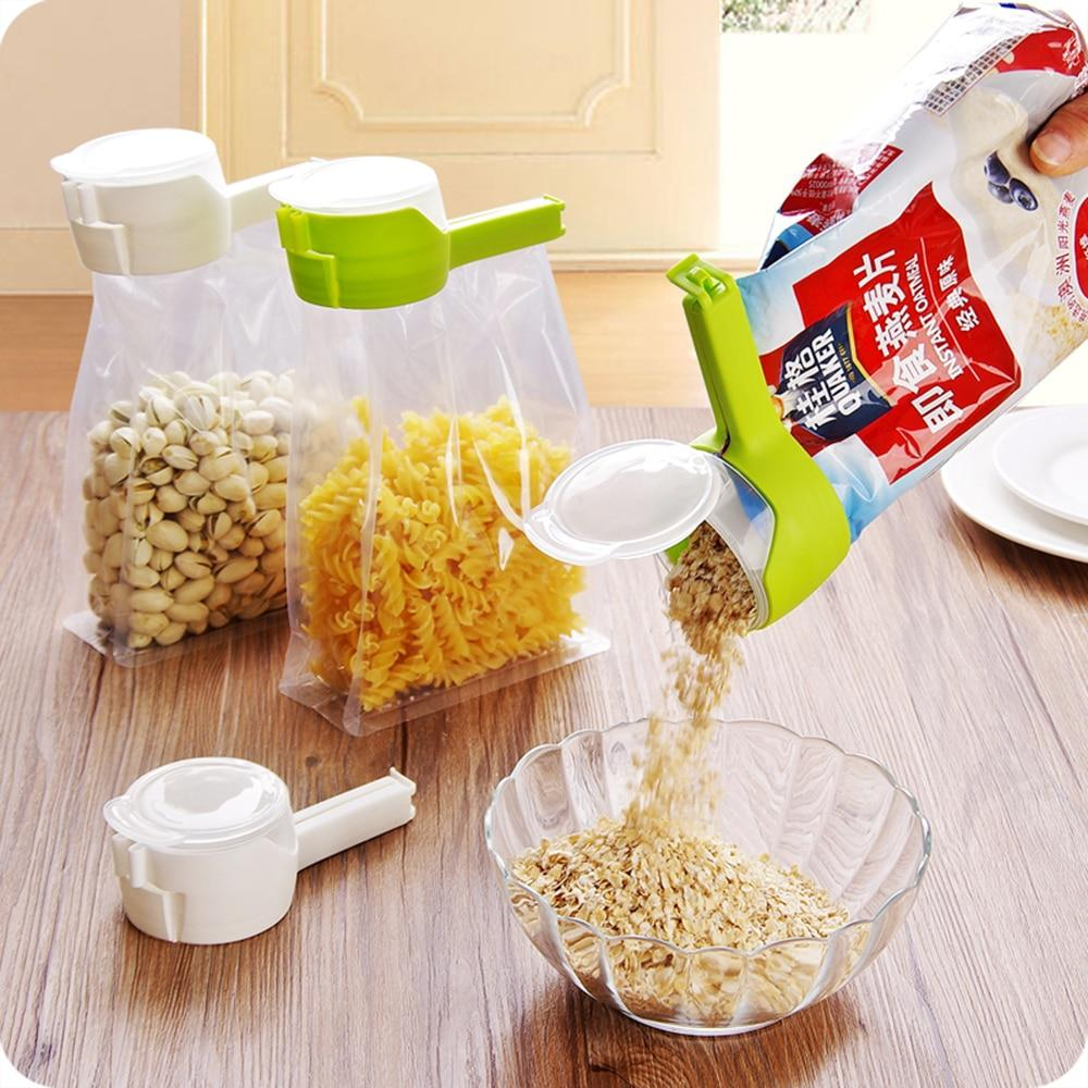 Seal & Pour Food Storage Bag Clip With Large Discharge Nozzle - Foodsaver Kitchen Tool - Bag Clips