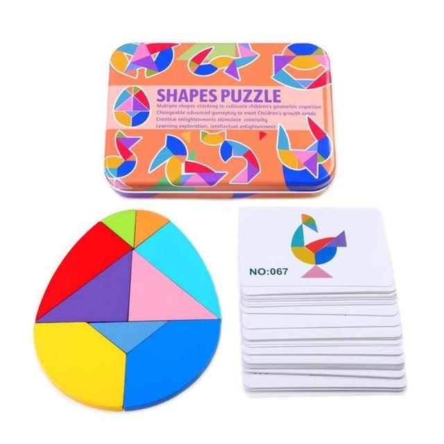 Shapes Jigsaw Puzzle Educational Toy For Kids - Wooden Tangram Puzzle - Round 9 Blocks - Puzzles