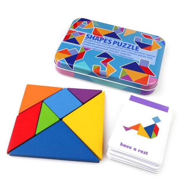 Shapes Jigsaw Puzzle Educational Toy For Kids - Wooden Tangram Puzzle - Square 7 Blocks - Puzzles