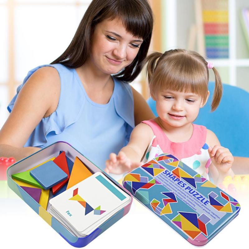 Shapes Jigsaw Puzzle Educational Toy For Kids - Wooden Tangram Puzzle - Puzzles