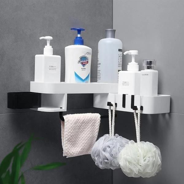 Shower Corner Shelf - Corner Shower Caddy - Nail-Free Shower Rack Space Saver - White Black - Storage Shelves & Racks