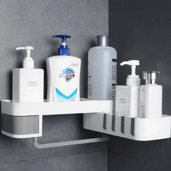 Shower Corner Shelf - Corner Shower Caddy - Nail-Free Shower Rack Space Saver - White Grey - Storage Shelves & Racks